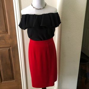 Exclusively Misook Skirt Pencil Red Midi Sz Small